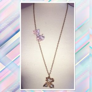 J. Crew Crystal Flower Ombré Ribbon Gold Necklace